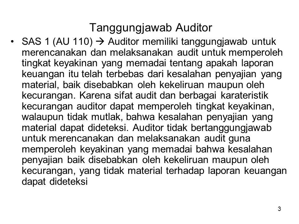 3 Tanggungjawab Auditor SAS 1 (AU 110)  Auditor memiliki tanggungjawab untuk merencanakan dan melaksanakan audit untuk memperoleh tingkat keyakinan y
