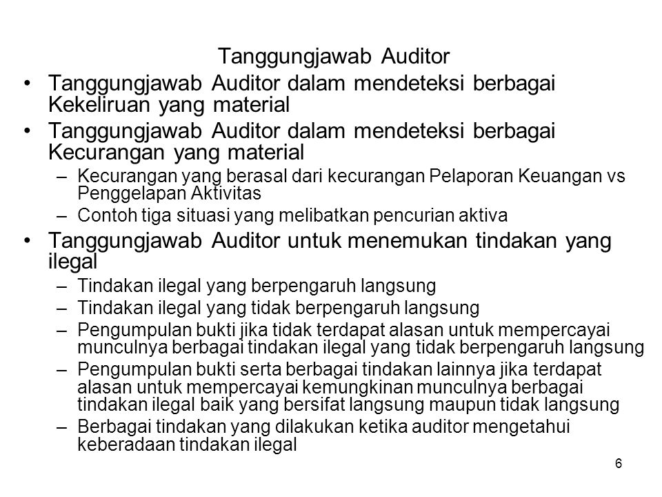 6 Tanggungjawab Auditor Tanggungjawab Auditor dalam mendeteksi berbagai Kekeliruan yang material Tanggungjawab Auditor dalam mendeteksi berbagai Kecur