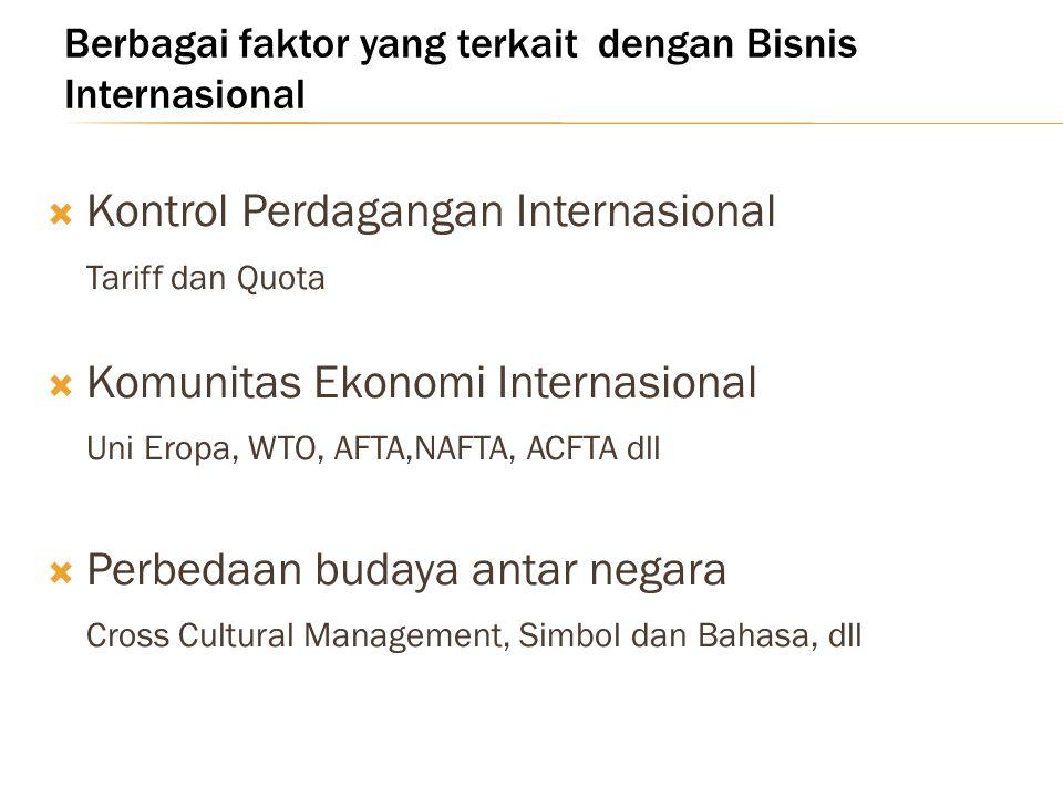 Berbagai faktor yang terkait dengan Bisnis Internasional  Kontrol Perdagangan Internasional Tariff dan Quota  Komunitas Ekonomi Internasional Uni Er