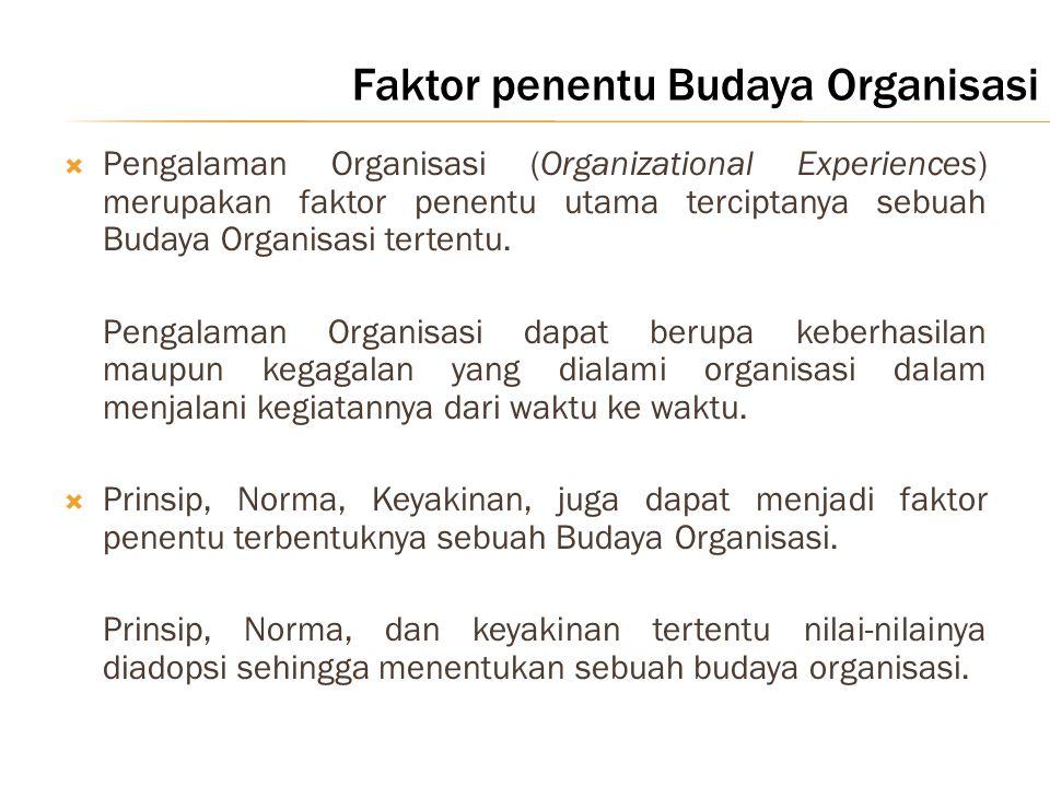 Faktor penentu Budaya Organisasi  Pengalaman Organisasi (Organizational Experiences) merupakan faktor penentu utama terciptanya sebuah Budaya Organis