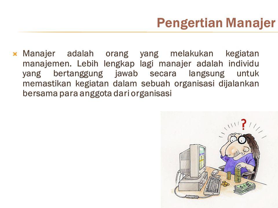 Pengertian Manajer  Manajer adalah orang yang melakukan kegiatan manajemen. Lebih lengkap lagi manajer adalah individu yang bertanggung jawab secara