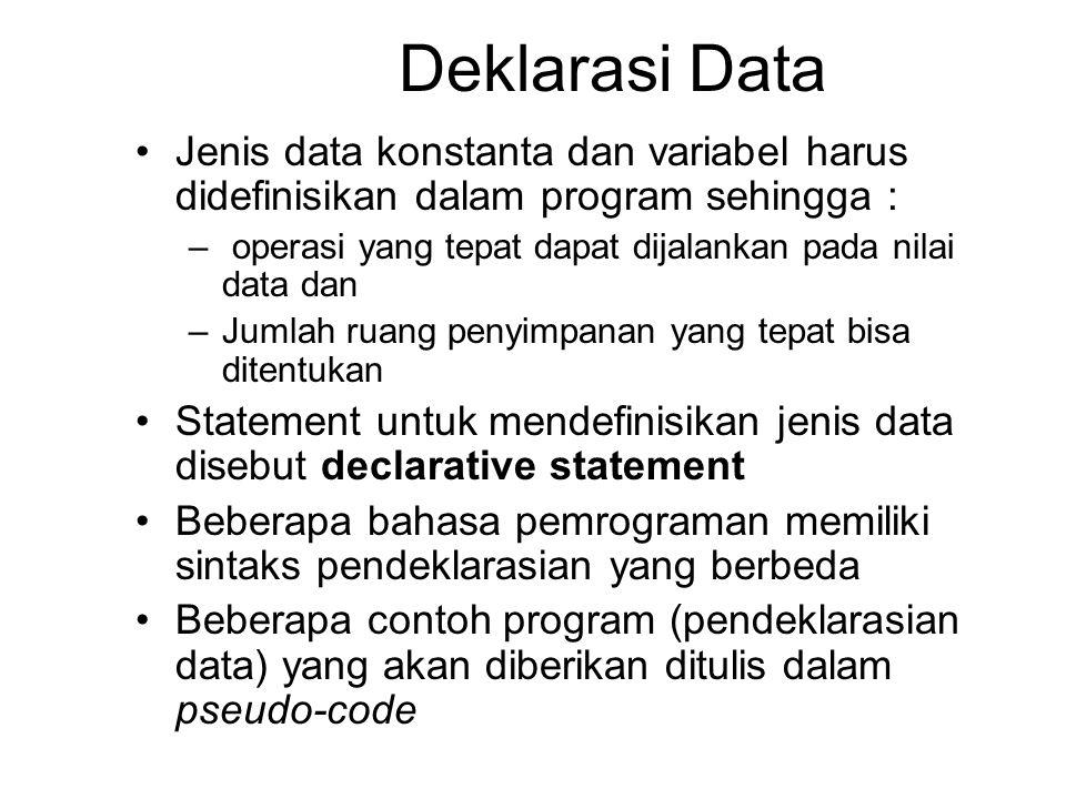 Deklarasi Data Jenis data konstanta dan variabel harus didefinisikan dalam program sehingga : – operasi yang tepat dapat dijalankan pada nilai data dan –Jumlah ruang penyimpanan yang tepat bisa ditentukan Statement untuk mendefinisikan jenis data disebut declarative statement Beberapa bahasa pemrograman memiliki sintaks pendeklarasian yang berbeda Beberapa contoh program (pendeklarasian data) yang akan diberikan ditulis dalam pseudo-code