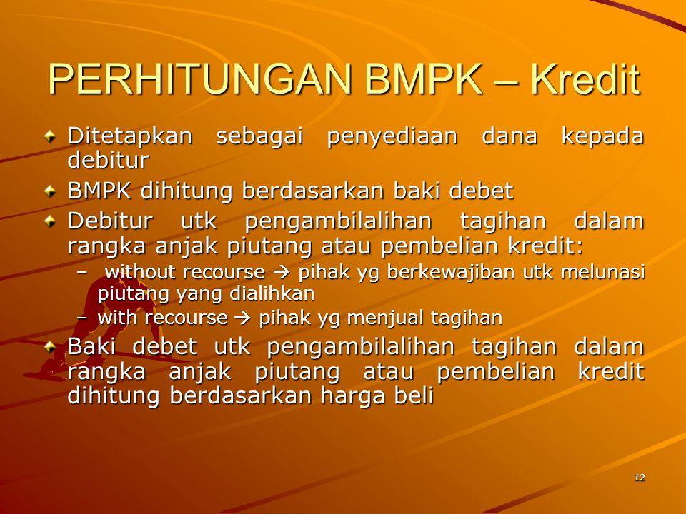 11 PERHITUNGAN BMPK Dalam perhitungan BMPK, hal penting yang perlu diketahui untuk setiap jenis Penyediaan Dana adalah : –Pihak yang menerima Penyedia