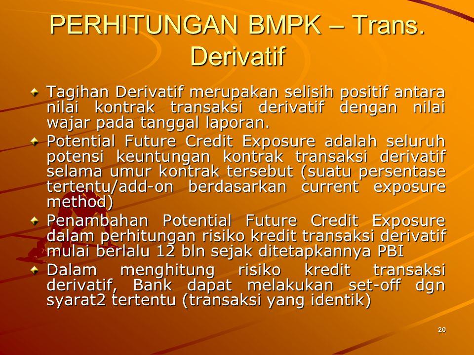 19 PERHITUNGAN BMPK – Trans. Derivatif Transaksi derivatif yg berkaitan dgn suku bunga atau valuta asing ditetapkan sbg penyediaan dana kepada pihak l