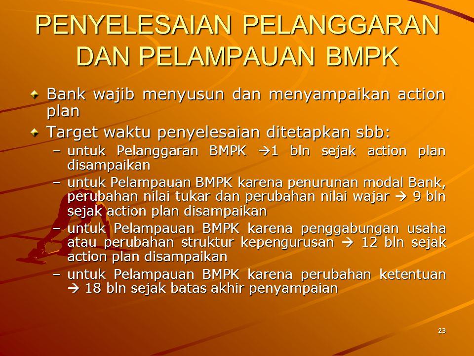 22 PELAMPAUAN BMPK Penyediaan dana Bank ditetapkan sbg pelampauan BMPK apabila disebabkan hal-hal sbb: –penurunan modal Bank –perubahan nilai tukar –perubahan nilai wajar (mis.