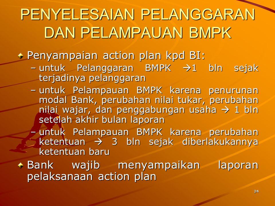 23 PENYELESAIAN PELANGGARAN DAN PELAMPAUAN BMPK Bank wajib menyusun dan menyampaikan action plan Target waktu penyelesaian ditetapkan sbb: –untuk Pela