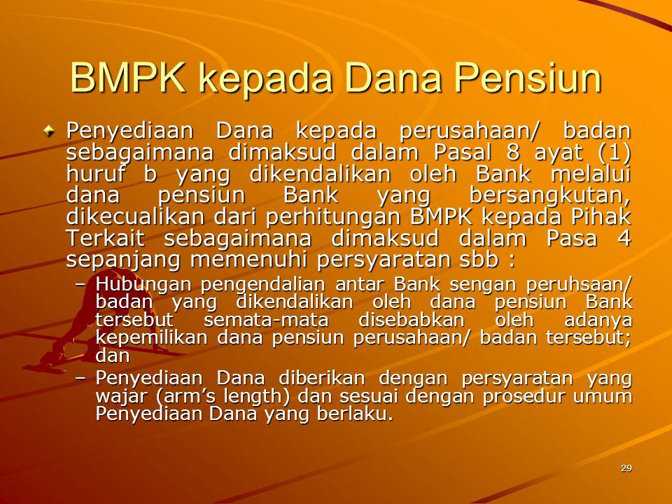 28 BMPK kepada BUMN/ BUMD Penyediaan Dana Bank kepada BUMN untuk tujuan pembangunan ditetapkan paling tinggi sebesar 30% dari modal.