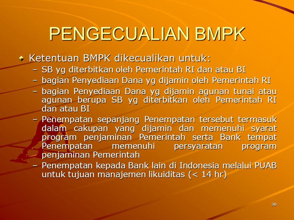29 BMPK kepada Dana Pensiun Penyediaan Dana kepada perusahaan/ badan sebagaimana dimaksud dalam Pasal 8 ayat (1) huruf b yang dikendalikan oleh Bank m