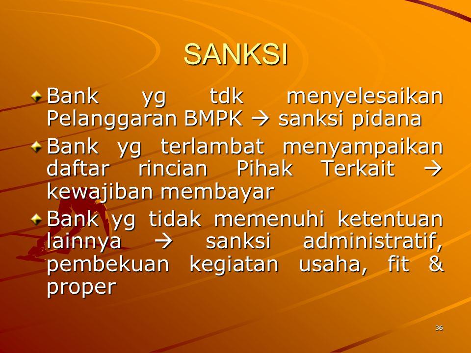 35 SANKSI Bank yg melakukan Pelanggaran BMPK dan atau Pelampauan BMPK dikenakan sanksi penilaian tingkat kesehatan Bank Bank yg terlambat menyampaikan