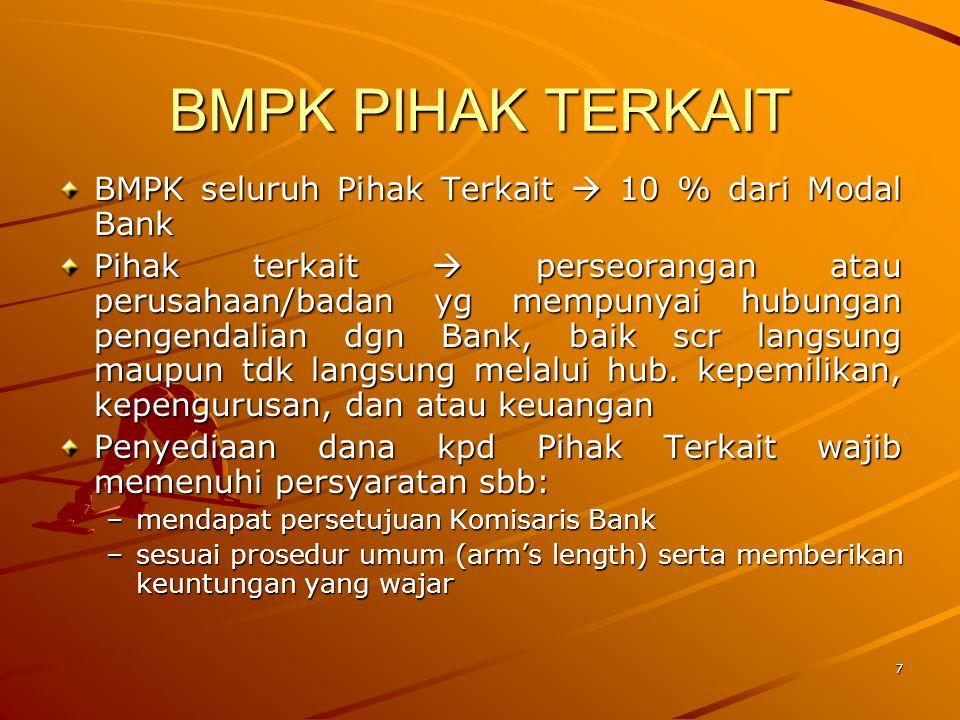 6 KETENTUAN UMUM Bank dilarang: –membuat suatu perikatan atau perjanjian yg mewajibkan Bank utk memberikan penyediaan dana yg akan mengakibatkan terja