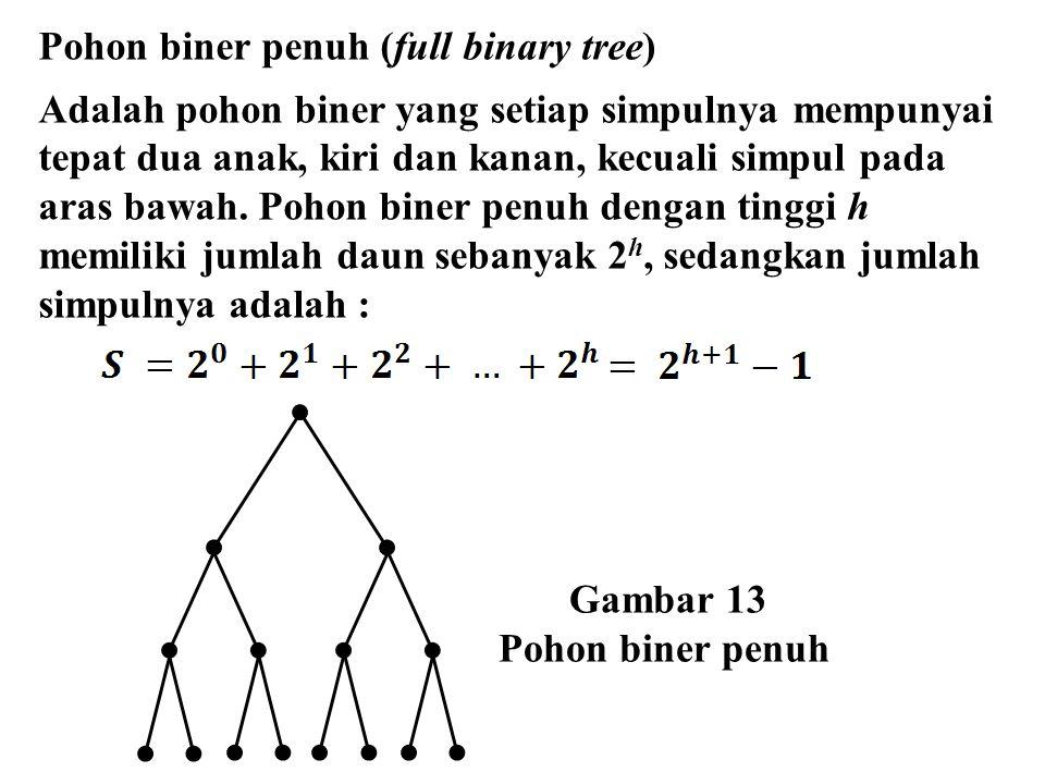 Gambar 13 Pohon biner penuh Pohon biner penuh (full binary tree) Adalah pohon biner yang setiap simpulnya mempunyai tepat dua anak, kiri dan kanan, ke