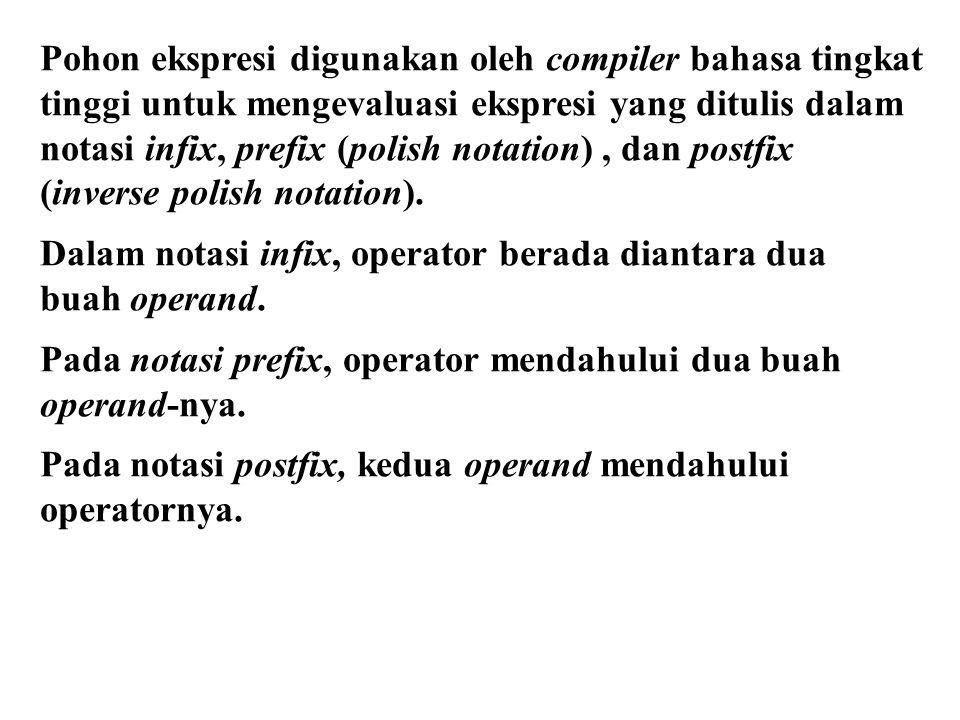 Pohon ekspresi digunakan oleh compiler bahasa tingkat tinggi untuk mengevaluasi ekspresi yang ditulis dalam notasi infix, prefix (polish notation), da