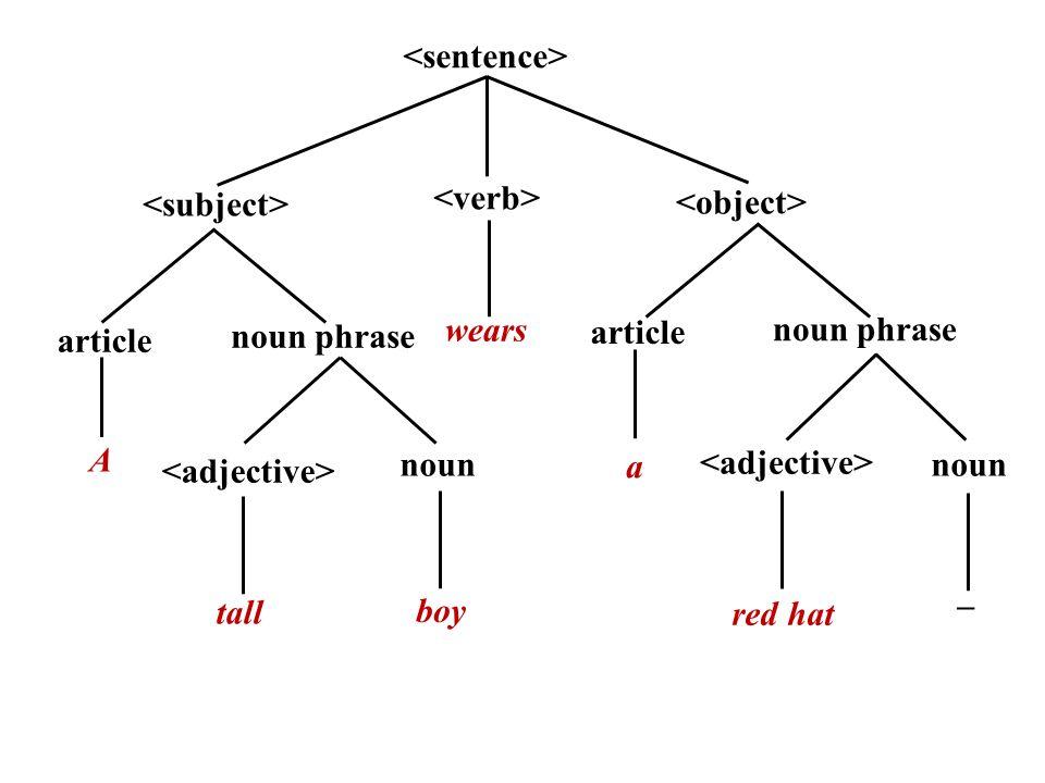 article noun noun phrase article noun phrase wears A boy tall a red hat – noun