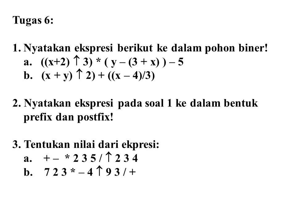 Tugas 6: 1.Nyatakan ekspresi berikut ke dalam pohon biner! a. ((x+2)  3) * ( y – (3 + x) ) – 5 b. (x + y)  2) + ((x – 4)/3) 2. Nyatakan ekspresi pad