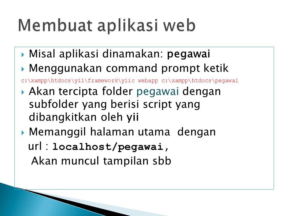  Misal aplikasi dinamakan: pegawai  Menggunakan command prompt ketik c:\xampp\htdocs\yii\framework\yiic webapp c:\xampp\htdocs\pegawai  Akan tercip