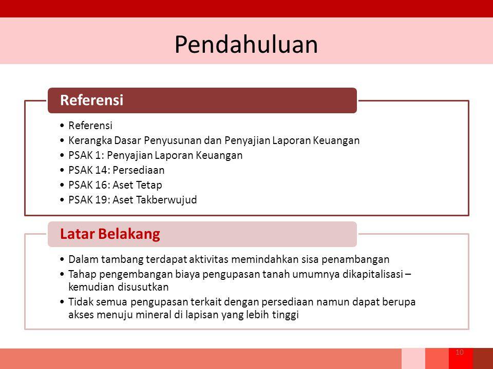 Pendahuluan 10 Referensi Kerangka Dasar Penyusunan dan Penyajian Laporan Keuangan PSAK 1: Penyajian Laporan Keuangan PSAK 14: Persediaan PSAK 16: Aset