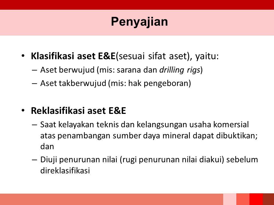 Penyajian Klasifikasi aset E&E(sesuai sifat aset), yaitu: – Aset berwujud (mis: sarana dan drilling rigs) – Aset takberwujud (mis: hak pengeboran) Rek