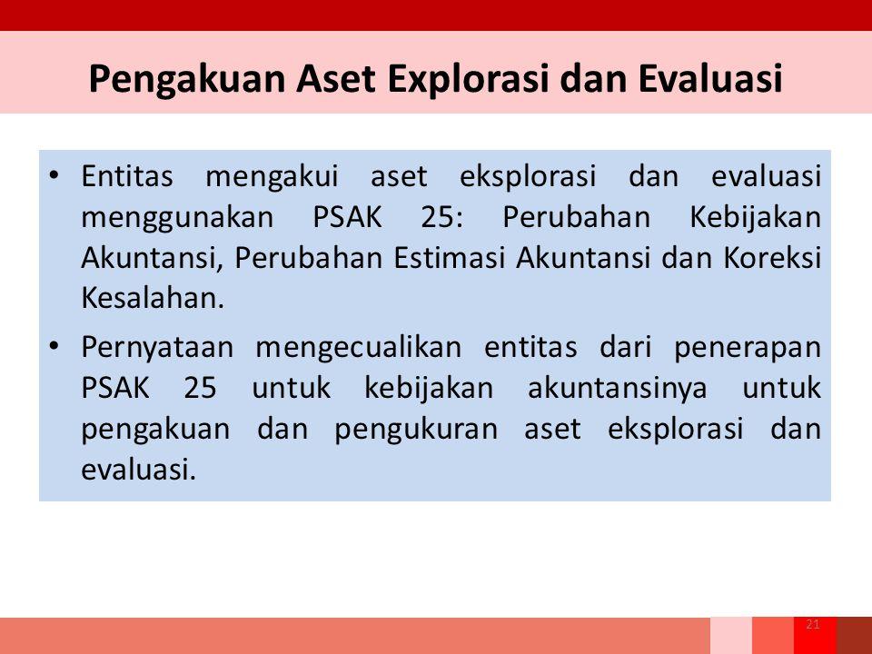 Pengakuan Aset Explorasi dan Evaluasi Entitas mengakui aset eksplorasi dan evaluasi menggunakan PSAK 25: Perubahan Kebijakan Akuntansi, Perubahan Esti
