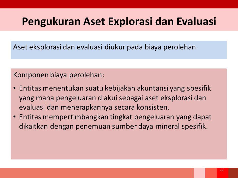 Pengukuran Aset Explorasi dan Evaluasi Aset eksplorasi dan evaluasi diukur pada biaya perolehan. 22 Komponen biaya perolehan: Entitas menentukan suatu