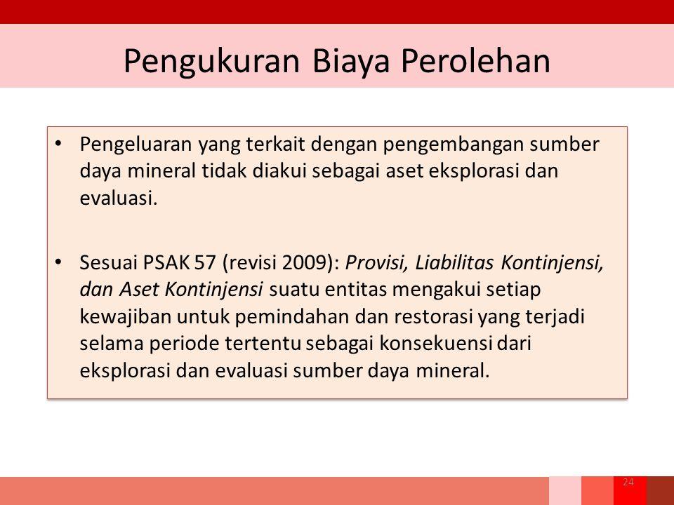 Pengukuran Biaya Perolehan 24 Pengeluaran yang terkait dengan pengembangan sumber daya mineral tidak diakui sebagai aset eksplorasi dan evaluasi. Sesu