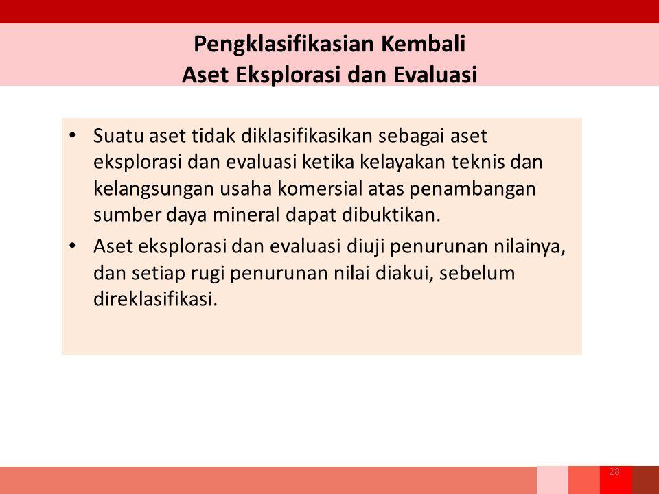 Pengklasifikasian Kembali Aset Eksplorasi dan Evaluasi Suatu aset tidak diklasifikasikan sebagai aset eksplorasi dan evaluasi ketika kelayakan teknis