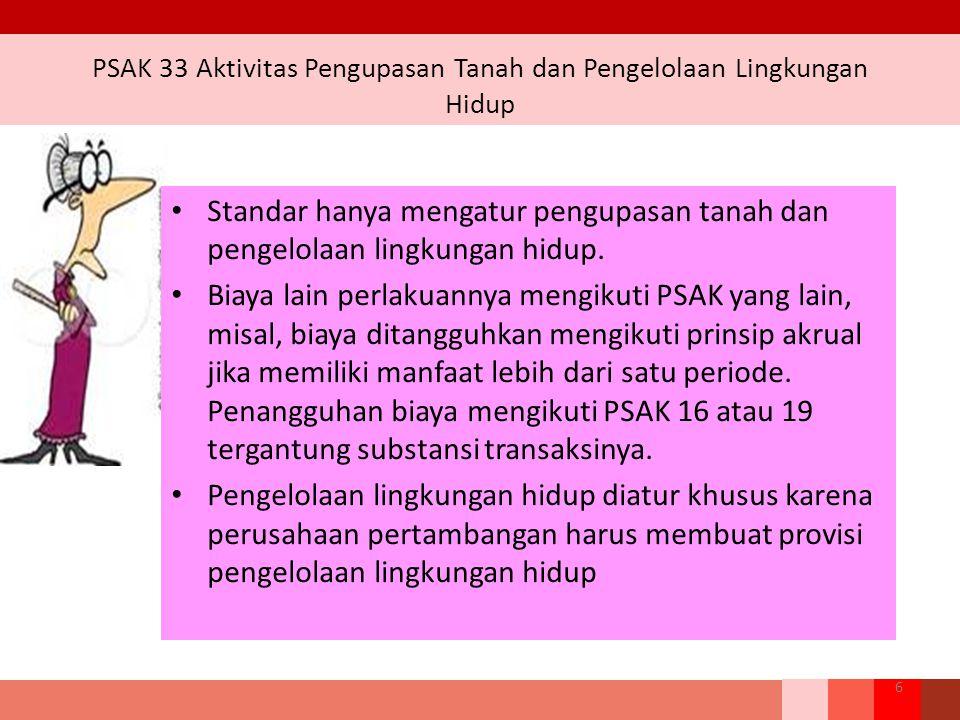 PPSAK 12 PSAK 33: Aktivitas Pengupasan Lapisan Tanah & Pengelolaan Lingkungan Hidup pada Pertambangan Umum Pengupasan Lapisan Tanah Pengelolaan Lingkungan Hidup ISAK 29 Dicabut.