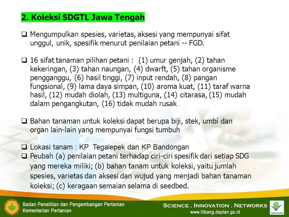 2. Koleksi SDGTL Jawa Tengah  Mengumpulkan spesies, varietas, aksesi yang mempunyai sifat unggul, unik, spesifik menurut penilaian petani -- FGD.  1
