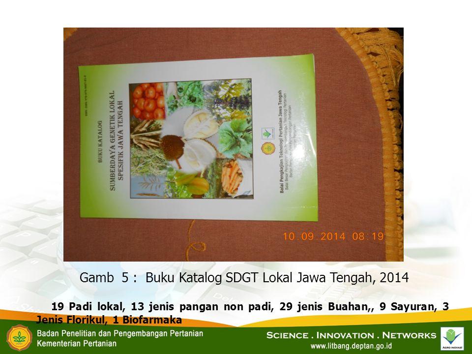 Gamb 5 : Buku Katalog SDGT Lokal Jawa Tengah, 2014 19 Padi lokal, 13 jenis pangan non padi, 29 jenis Buahan,, 9 Sayuran, 3 Jenis Florikul, 1 Biofarmak
