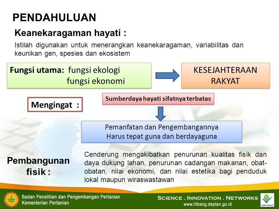 PENDAHULUAN Keanekaragaman hayati : Istilah digunakan untuk menerangkan keanekaragaman, variabilitas dan keunikan gen, spesies dan ekosistem Fungsi ut