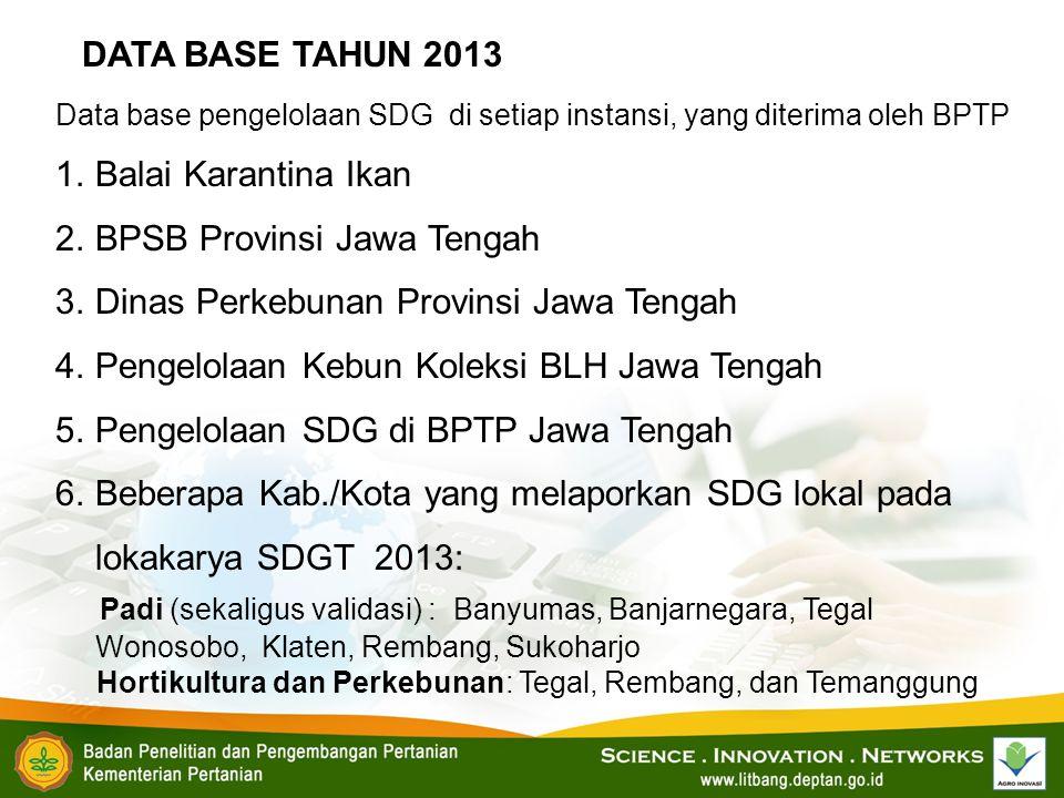 Data base pengelolaan SDG di setiap instansi, yang diterima oleh BPTP 1.Balai Karantina Ikan 2.BPSB Provinsi Jawa Tengah 3.Dinas Perkebunan Provinsi J