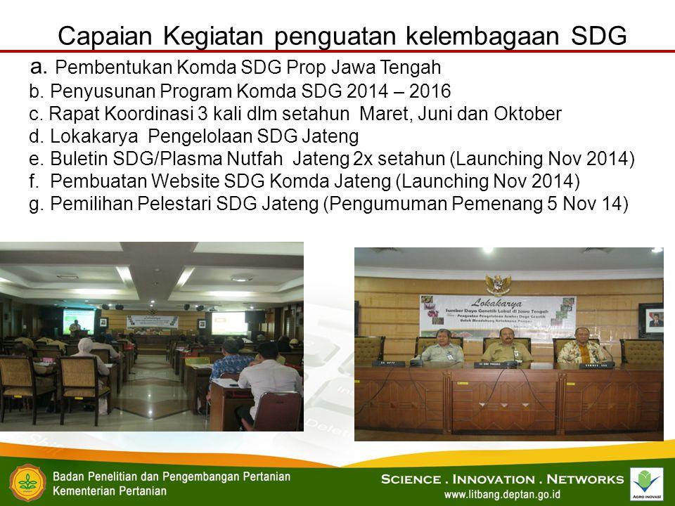 Capaian Kegiatan penguatan kelembagaan SDG a. Pembentukan Komda SDG Prop Jawa Tengah b. Penyusunan Program Komda SDG 2014 – 2016 c. Rapat Koordinasi 3