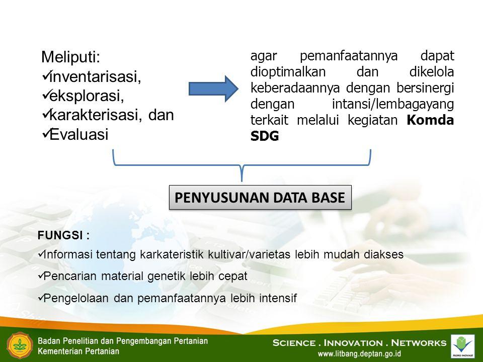 1.Melaksanakan reinventarisasi dan status SDG tanaman lokal (SDGTL) di Jawa Tengah,.