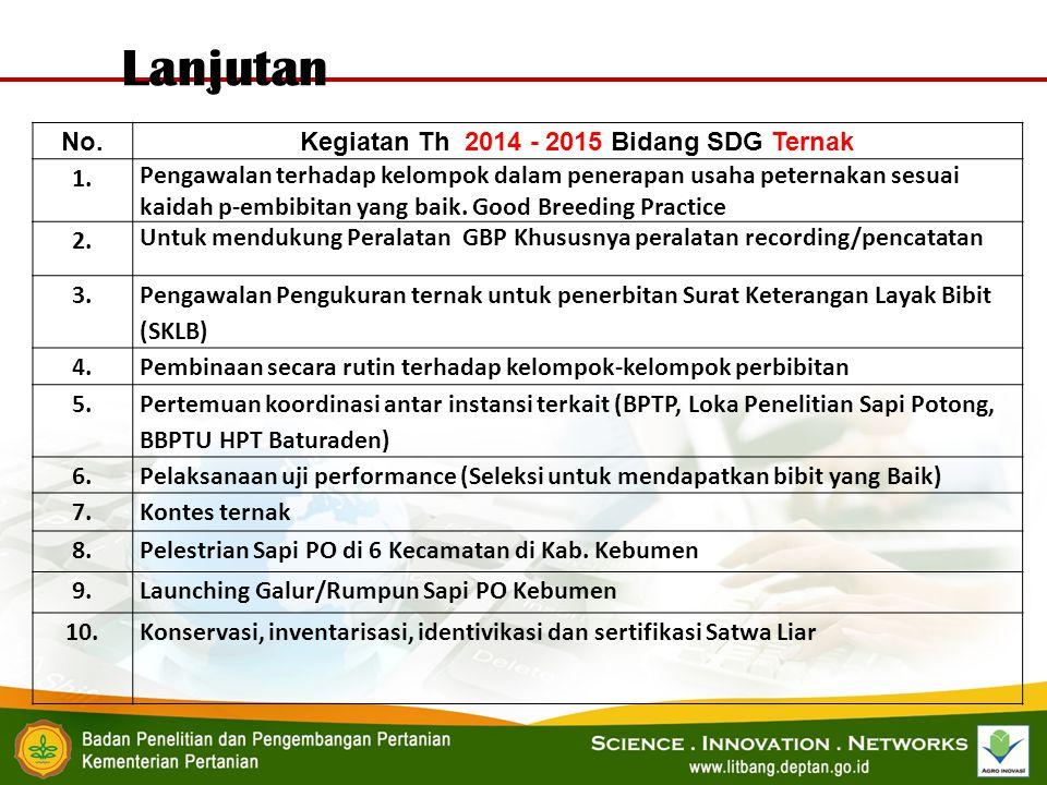 No.Kegiatan Th 2014 - 2015 Bidang SDG Ternak 1. Pengawalan terhadap kelompok dalam penerapan usaha peternakan sesuai kaidah p-embibitan yang baik. Goo