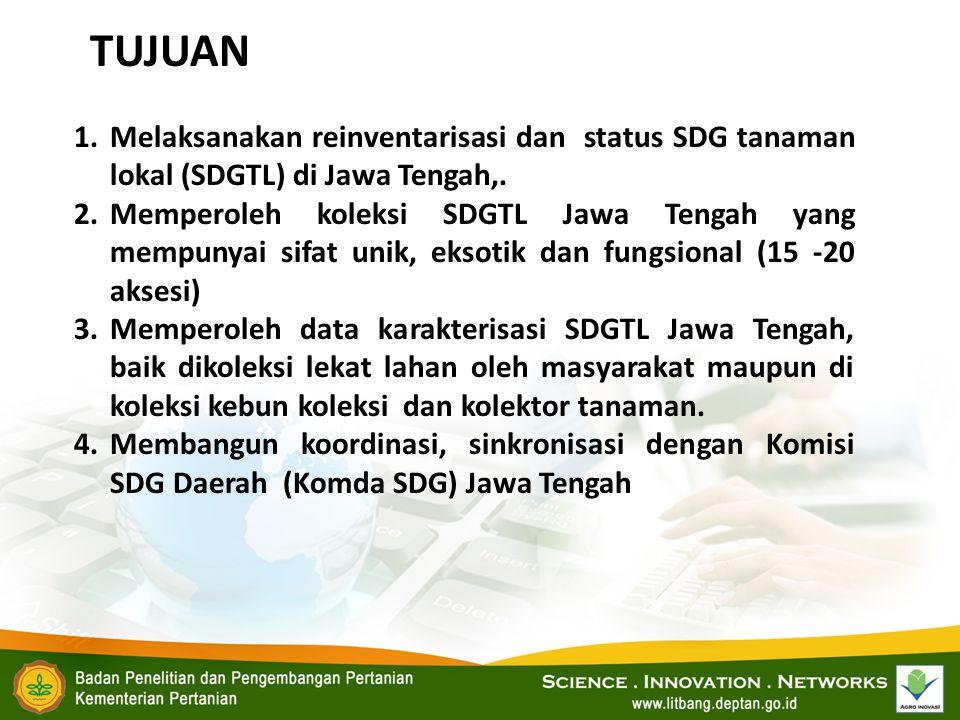 1.Melaksanakan reinventarisasi dan status SDG tanaman lokal (SDGTL) di Jawa Tengah,. 2.Memperoleh koleksi SDGTL Jawa Tengah yang mempunyai sifat unik,
