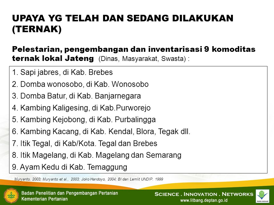 1. Sapi jabres, di Kab. Brebes 2. Domba wonosobo, di Kab. Wonosobo 3. Domba Batur, di Kab. Banjarnegara 4. Kambing Kaligesing, di Kab.Purworejo 5. Kam