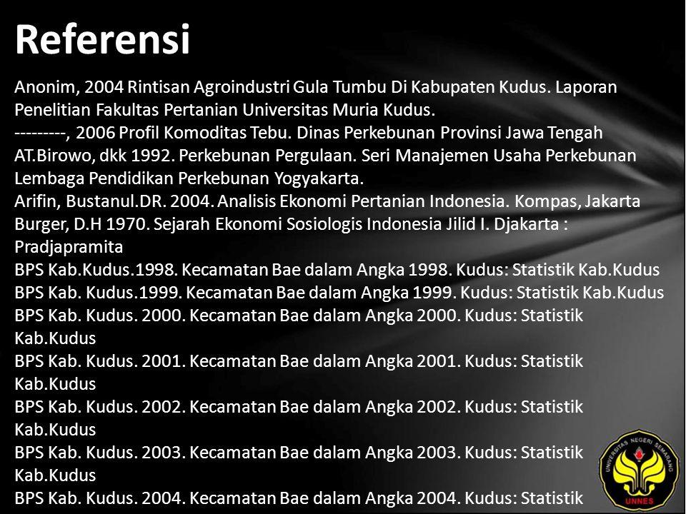Referensi Anonim, 2004 Rintisan Agroindustri Gula Tumbu Di Kabupaten Kudus. Laporan Penelitian Fakultas Pertanian Universitas Muria Kudus. ---------,