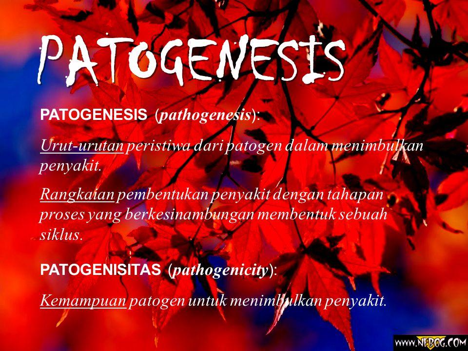 PATOGENESIS PATOGENESIS ( pathogenesis ): Urut-urutan peristiwa dari patogen dalam menimbulkan penyakit.
