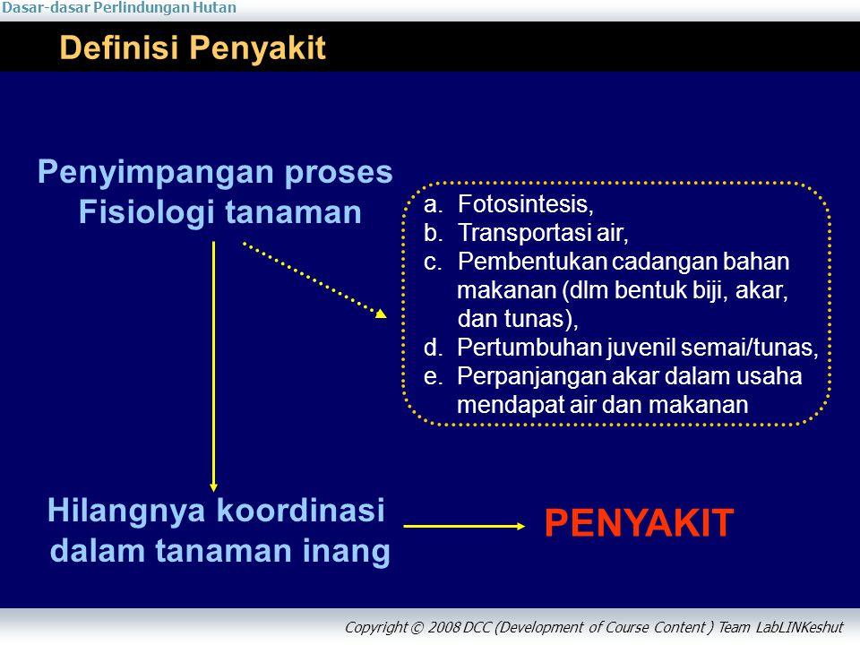 Dasar-dasar Perlindungan Hutan Copyright © 2008 DCC (Development of Course Content ) Team LabLINKeshut Definisi Penyakit Penyimpangan proses Fisiologi