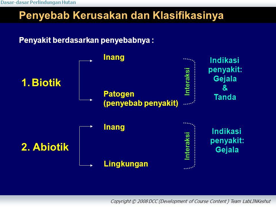Dasar-dasar Perlindungan Hutan Copyright © 2008 DCC (Development of Course Content ) Team LabLINKeshut Penyebab Kerusakan dan Klasifikasinya 1.Biotik