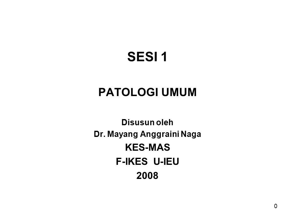 0 SESI 1 PATOLOGI UMUM Disusun oleh Dr. Mayang Anggraini Naga KES-MAS F-IKES U-IEU 2008