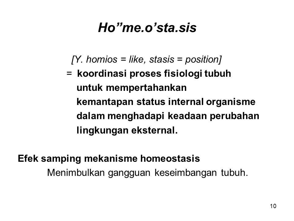 """10 Ho""""me.o'sta.sis [Y. homios = like, stasis = position] = koordinasi proses fisiologi tubuh untuk mempertahankan kemantapan status internal organisme"""