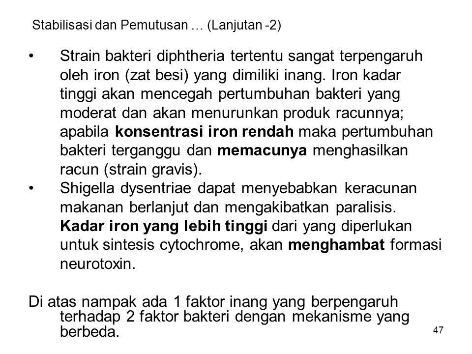47 Stabilisasi dan Pemutusan … (Lanjutan -2) Strain bakteri diphtheria tertentu sangat terpengaruh oleh iron (zat besi) yang dimiliki inang. Iron kada
