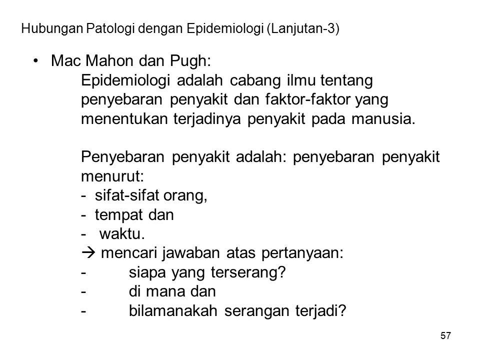 57 Hubungan Patologi dengan Epidemiologi (Lanjutan-3) Mac Mahon dan Pugh: Epidemiologi adalah cabang ilmu tentang penyebaran penyakit dan faktor-fakto