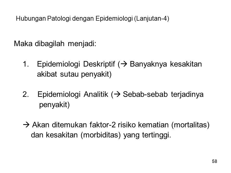 58 Hubungan Patologi dengan Epidemiologi (Lanjutan-4) Maka dibagilah menjadi: 1.Epidemiologi Deskriptif (  Banyaknya kesakitan akibat sutau penyakit)