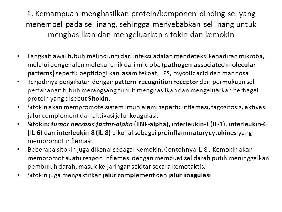 1. Kemampuan menghasilkan protein/komponen dinding sel yang menempel pada sel inang, sehingga menyebabkan sel inang untuk menghasilkan dan mengeluarka