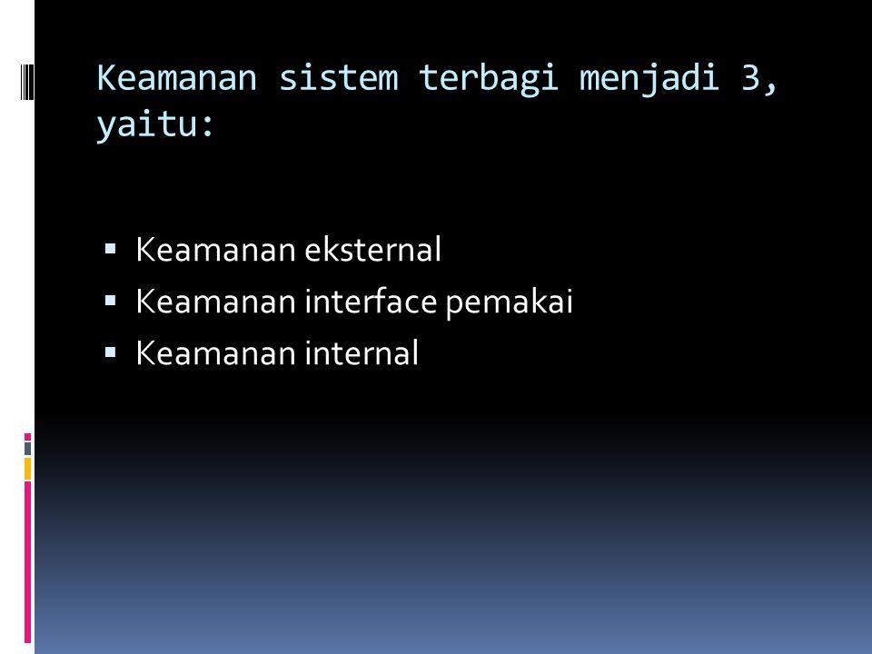 Keamanan sistem terbagi menjadi 3, yaitu:  Keamanan eksternal  Keamanan interface pemakai  Keamanan internal