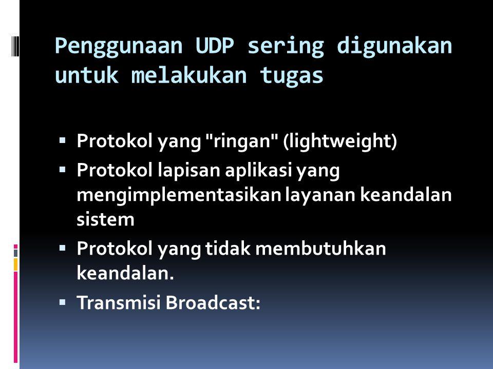 Penggunaan UDP sering digunakan untuk melakukan tugas  Protokol yang ringan (lightweight)  Protokol lapisan aplikasi yang mengimplementasikan layanan keandalan sistem  Protokol yang tidak membutuhkan keandalan.
