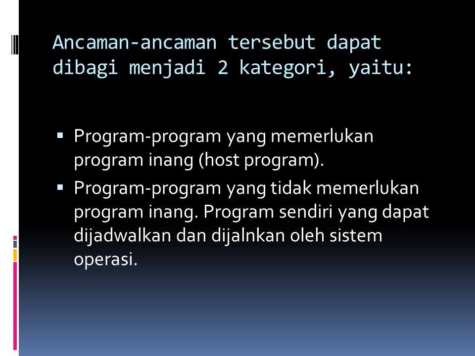 Ancaman-ancaman tersebut dapat dibagi menjadi 2 kategori, yaitu:  Program-program yang memerlukan program inang (host program).