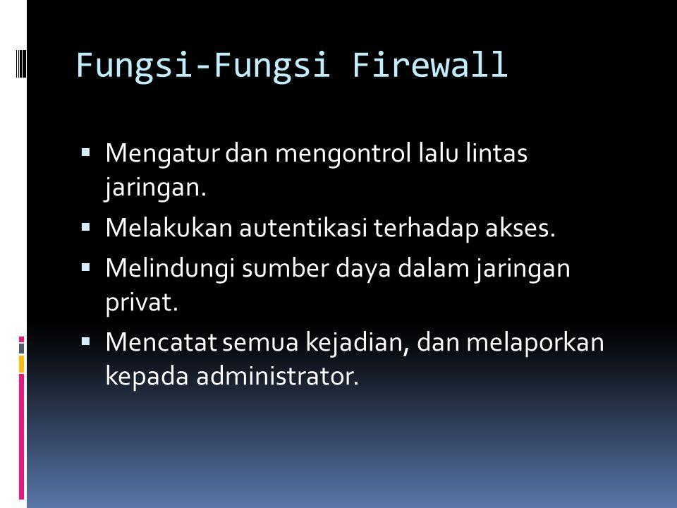 Fungsi-Fungsi Firewall  Mengatur dan mengontrol lalu lintas jaringan.