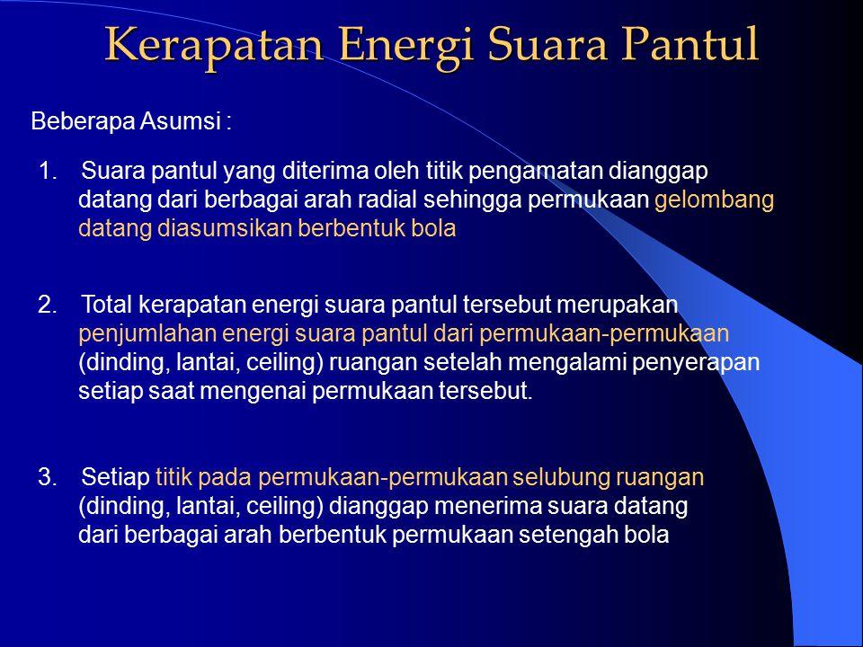 Kerapatan Energi Suara Langsung SS XX arah propagasi gelombang suara kerapatan energi suara langsung = D o P Aliran Energi dinyatakan : mengingat